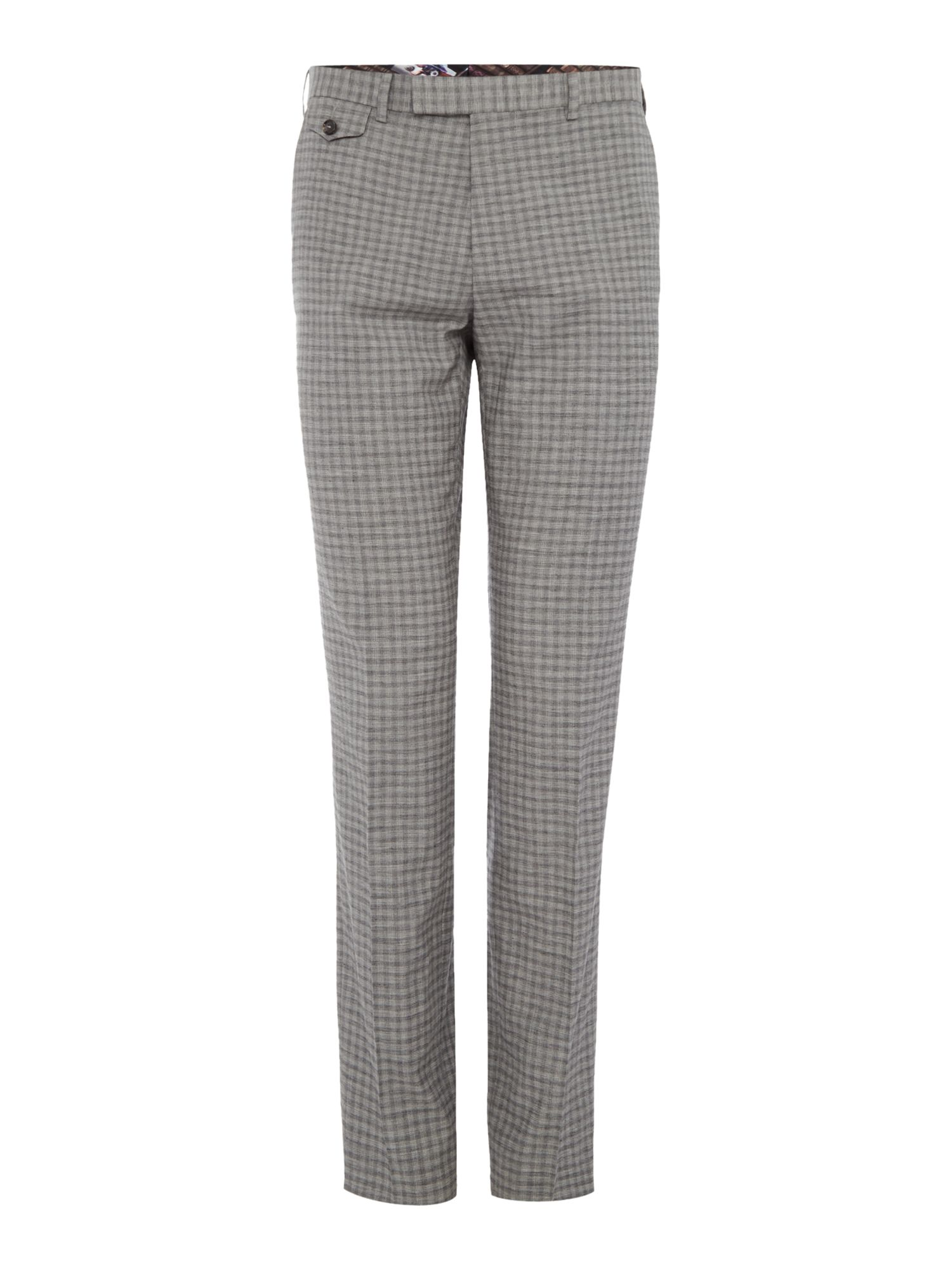 Mens Ted Baker Tench Grey Check Suit Trousers Grey