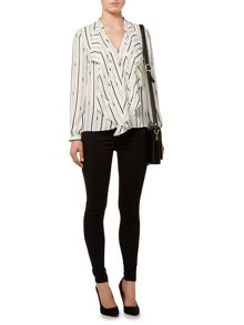 Stripe printed frill front essential blouse