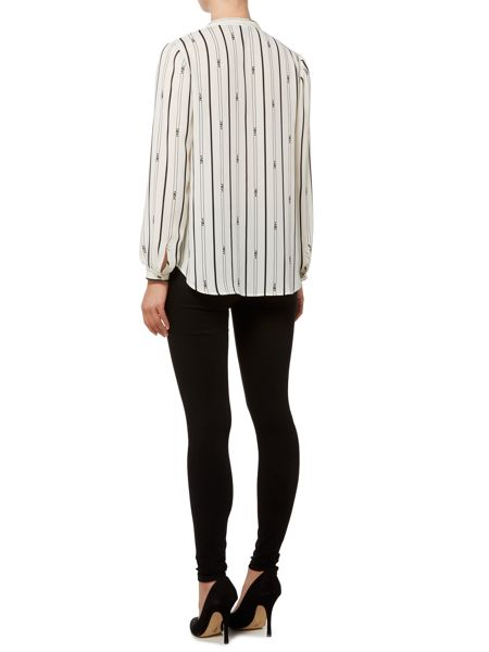 Biba Stripe printed frill front essential blouse