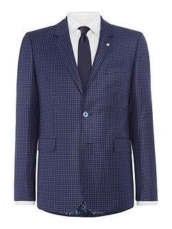 Hopski Slim Blue Gingham Suit Jacket
