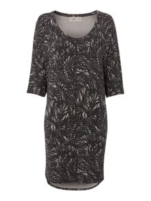 Feather print supersoft cocoon dress