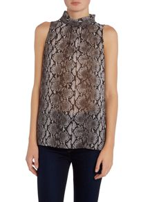 Sleeveless high neck anaconda top