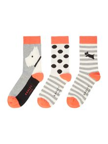 Radley Fleet street 3 pair pack ankle socks gift box