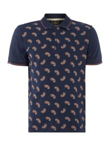 Merc Mens Short Sleeved Paisley Print Polo