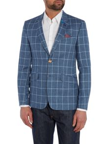 Gladez Linen Window Pane Check Jacket