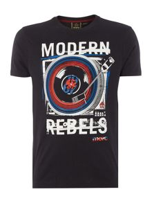 Merc Mens Short Sleeved Record Print T-Shirt