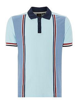 Mens Short Sleeved Verticle Stripe Polo Shirt