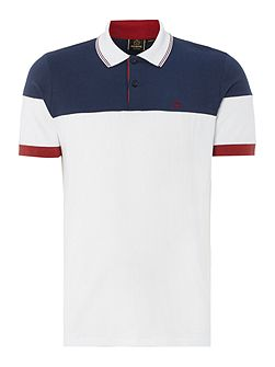 Mens Short Sleeved Contrast Block Polo Shirt