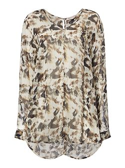 Ash print long tail blouse