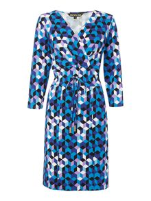 Biba Printed tie waist jersey dress