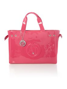 Armani Jeans Patent pink medium tote bag