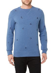 Hugo Boss Wilcott Slim Fit Bird Print Sweatshirt