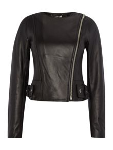 Crew neck leather jacket