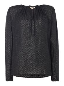 Michael Kors Long sleeve clip jacquard blouse