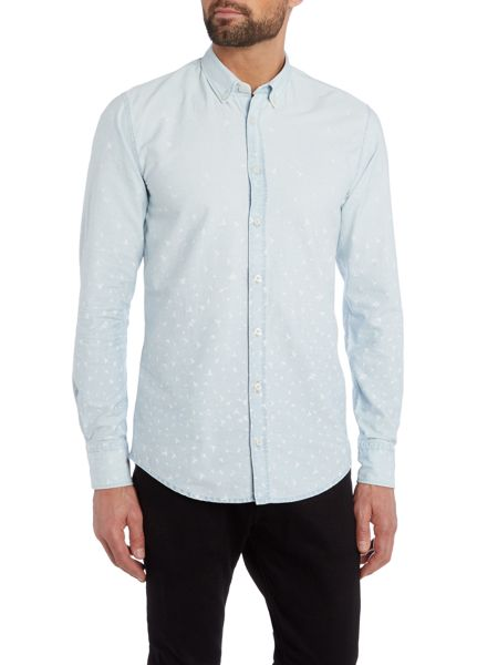 Hugo Boss Edipoe Slim Fit All Over Bird Shirt