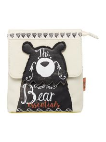 Disaster Penny black multi coloured bear cosmetic bag