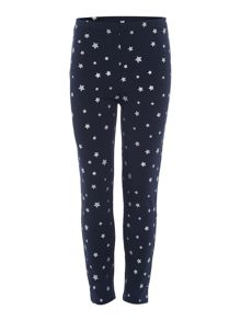 Girls Silver star print leggings