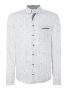 Hugo Boss Etwiste Slim Fit Bird Pinstripe Shirt