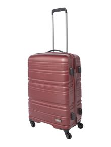 Saturn burgundy 4 wheel hard medium suitcase