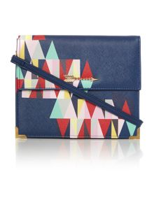 Dakota multi coloured flap over cross body bag