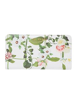 Hanny white floral large zip around purse