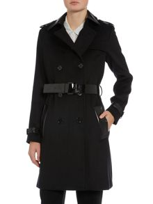 Mix media trench coat