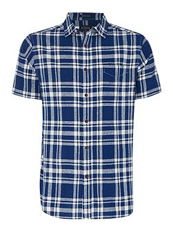 Folger check linen short sleeve shirt