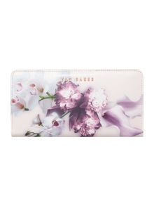 Maylam pink floral large zip around purse