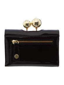 Lottay black small patent leather flap over purse