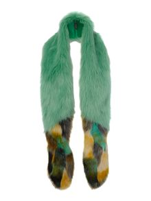 Long impressionist faux fur tail scarf