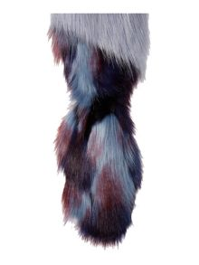 Helen Moore Long impressionist faux fur tail scarf