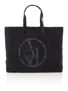 Nylon and patent black fold up tote bag