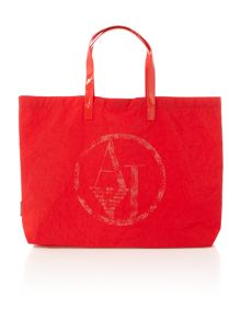 Nylon and patent red fold up tote bag