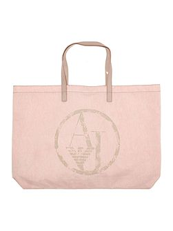 Nylon and patent light pink fold up tote