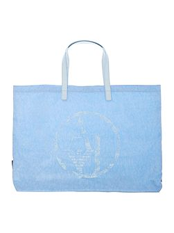 Nylon and patent light blue fold up tote