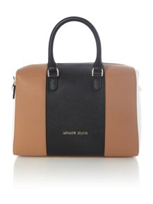Armani Jeans Eco saff tan stripe tote bag