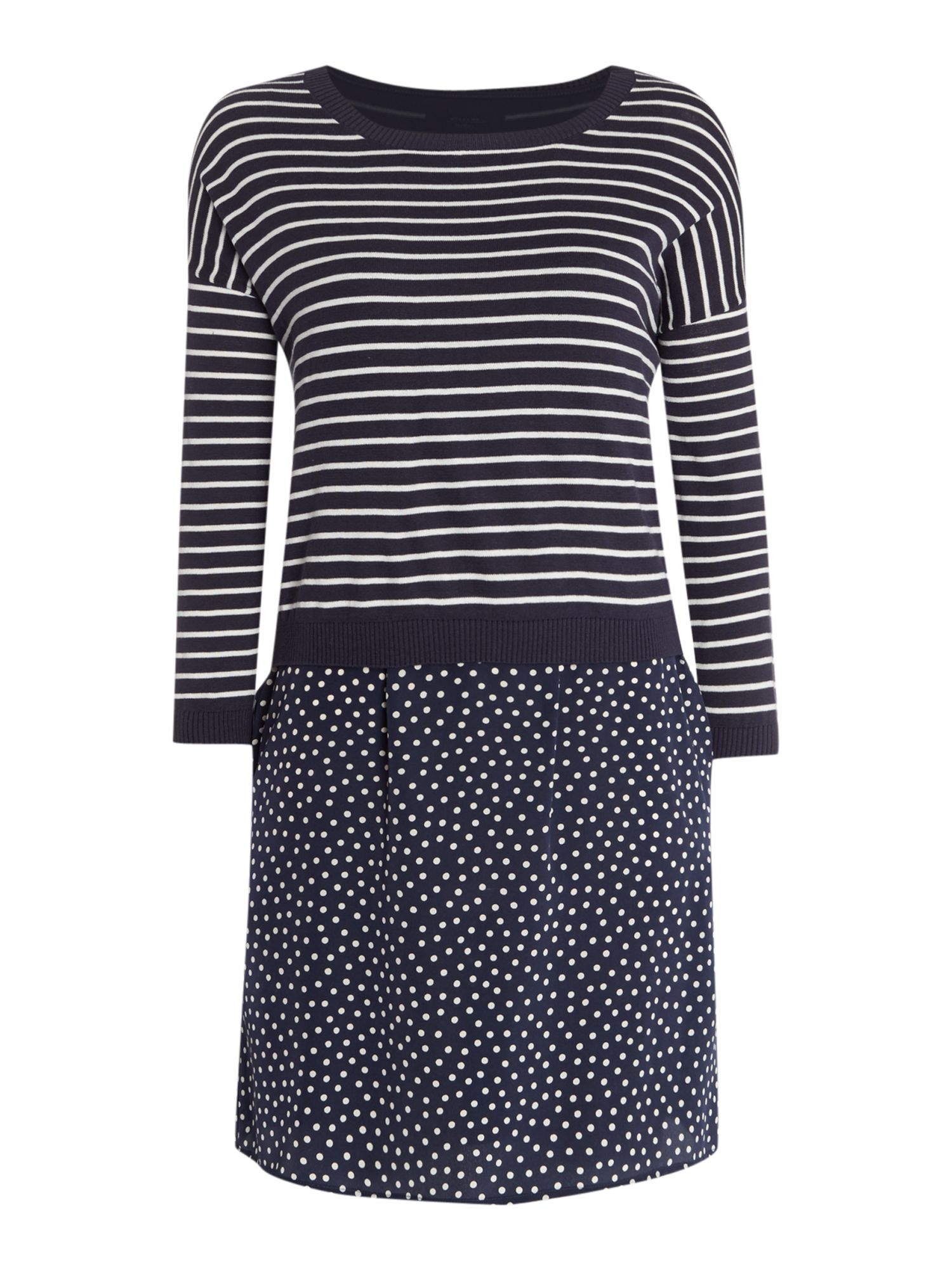 Max Mara Weekend Mira stripe and spot silk dress, Blue