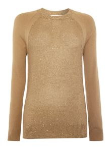 Raglan sleeve sequin knit jumper