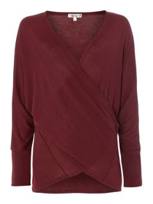 Long Sleeved Cross Over Front Top Knit