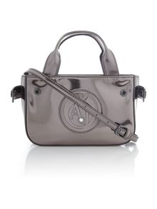 Laminated silver mini tote bag