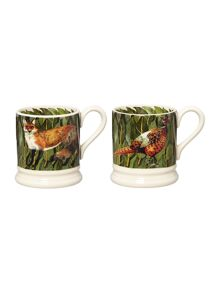 Set of 2 1/2 Pt Fox & Pheasants Mugs