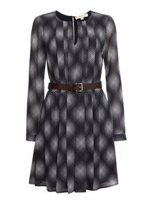 Michael Kors long sleeve mystic print pleated dress