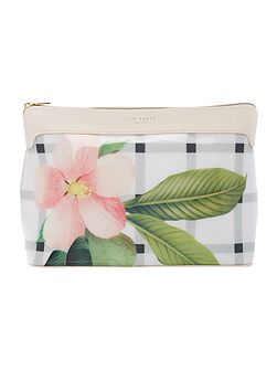 Annelly white floral large bow cosmetic bag