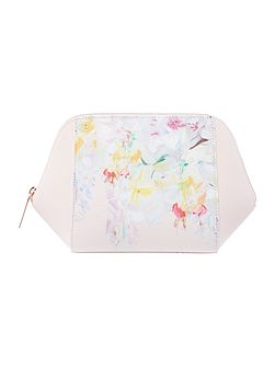 Kizzy light pink floral large bow cosmetic bag