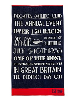Regatta sailing beach towel