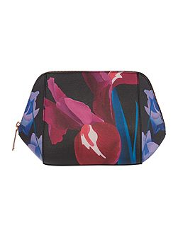Saffeen black floral large bow cosmetic bag
