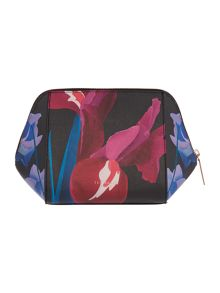 Ted Baker Saffeen black floral large bow cosmetic bag
