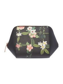 Pintoe black floral large bow cosmetic bag