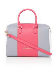 Eco saff pink stripe tote bag