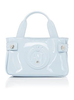 Patent light blue mini tote bag